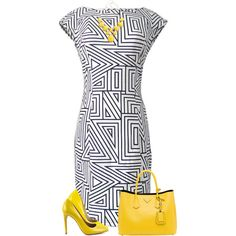 Yellow Heels by daiscat on Polyvore featuring moda, Steve Madden, BCBGeneration and Prada