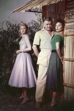 "Grace Kelly, Clark Gable and Ava Gardner on the set of ""Mogambo"", 1953."