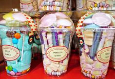 Great idea for these cups...great party favor or gift idea for kids...fill with toys/gadgets, and design a label. Yes!