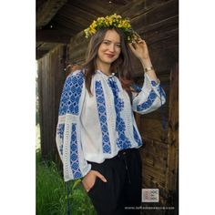 manually embroidered Romanian blouse