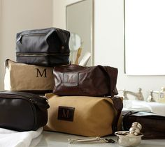 Saddle Leather Toiletry Case   Pottery Barn