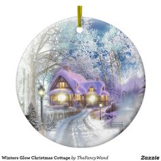 Winters Glow Christmas Cottage Ceramic Ornament