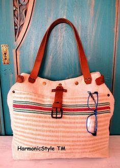 08. Grainsack  bag/handmade grainsack handbag/ grainsack shoulder bag/repurposed antique grainsack/limited edition/flax linen bag
