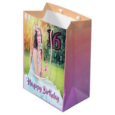 Sweet 16th Birthday Custom Photo Gift Bag Purple
