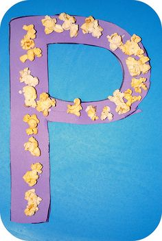 Could use yellow tissue paper if you wanted it to last longer! Letter P Activities, Preschool Letter Crafts, Alphabet Letter Crafts, Abc Crafts, Alphabet For Kids, Classroom Crafts, Preschool Crafts, Preschool Ideas, Popcorn Crafts