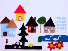Make a tiny town from felt and scissors (and then pack it up and take it on the road with you in a ziploc)
