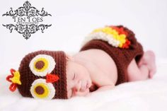 FREE SHIPPING crochet hat and diaper cover Baby Turkey Set/ photography prop or just for fun