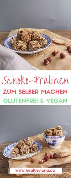 Gesunde Schoko Pralinen selber machen ist wirklich ziemlich einfach! Ein süßer Haselnusskern trifft bei diesem Rezept auf eine leckere Amaranthkruste. Perfekt für den kleinen Hunger auf etwas Süßes zwischendurch oder zum Naschen. Hier geht es zum Rezept für die fettarmen veganen Pralinen ohne Zucker, ohne Soja & ohne Gluten: http://www.healthylena.de/rezepte/gesunde-schoko-pralinen-selber-machen-vegan-glutenfrei-fettarm/