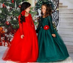 3ad749409dc Girls Long Lace Sleeve Maxi Dress with Flower Clip (3 Color Options)