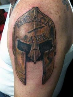 Battle Helmet With Molon Labe Enscribed Tattoo For Men On Upper Arm