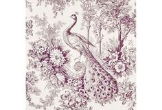 Peacock Toile Fabric, Mulberry, 1Yd.