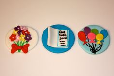 GET WELL Flower Balloons and Cards Fondant by topmycupcake