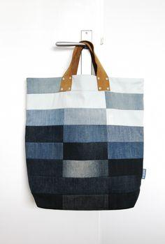 Tote bag XL + reused denim + reused leather... design by Daisy van Groningen, no pattern