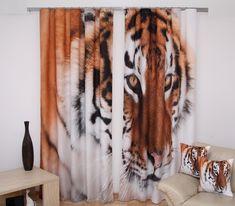Dekoracyjne zasłony gotowe w kolorze brązowym z tygrysem