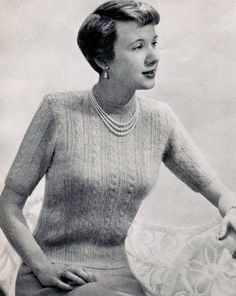 Women's Angora Cabled Short Sleeve Top Knitting by CreeksideCharms, $2.99
