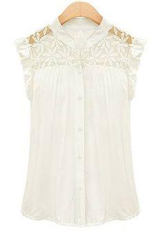 Beautiful White Floral Lace Ruffles Cap Short Sleeve Chiffon Blouse #beautiful #white_lace #ruffles #Spring #Summer #fashion