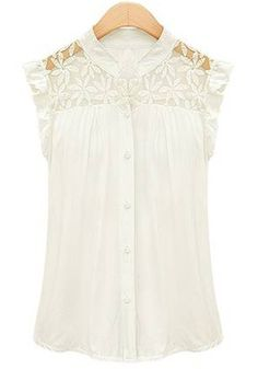 White Lace Ruffles Cap Short Sleeve Chiffon Blouse