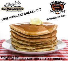 "Does your bike need some much needed TLC? Why not bring her down this Saturday morning to our Service Dept.? Thanks to the support from California Motorcycle Attorneys, we'll be hosting a ""First Come, First Served"" Pancake breakfast for our early birds in the Service Dept. on Saturday mornings (while supplies last). We hope to see you Saturday, bring an appetite! ;-)"