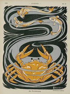 Artist: Otto Eckmann - all paintings from this artist available as fine art prints, canvas prints, paper prints or hand painted oils. Art Nouveau, Lino Art, Art And Illustration, Magazine Illustration, Japanese Prints, Canvas Prints, Art Prints, Arts And Crafts Movement, Pretty Art