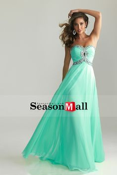 2013 Prom Dresses A Line Floor Length Sweetheart Chiffon With Rhinestone