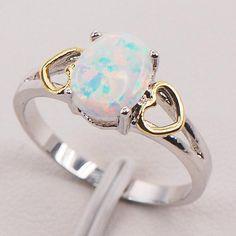 White Fire Australian Opal Heart Ring - AtPerrys Healing Crystals - 1