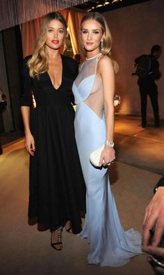 thesuperangels:  Doutzen Kroes & Rosie Huntington at 2014 Vanity Fair Oscar Party.