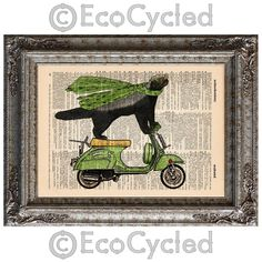 Honey Badger on Vespa on Vintage Upcycled Page Dictionary Recycled Repurposed. $10.00, via Etsy.
