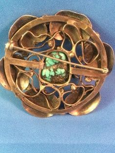 Mary Gage. Arts and Crafts silver and turquoise brooch. View 3.