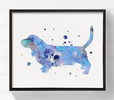 Blue Basset Hound Painting Basset Hound by MiaoMiaoDesign on Etsy