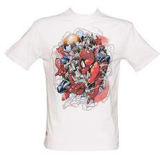 Men's White Marvel Artist Series Spiderman By Odisy T-Shirt From Addict : TruffleShuffle.com