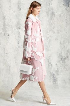 So feminine ~ looks like Appliqued white mink on a pink ground~ Luxury in a sweet way ~ Michael Kors Collection Pre-Fall 2016 collection.