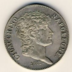 Italian States 1813 scarce 5 Lire - cracked die version ( neck ) XF+