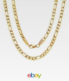 b796f013eaf 24 Inches High Shine Stainless Steel Figaro Gold Plated Chain With Lobster  Clasp Lobster Clasp