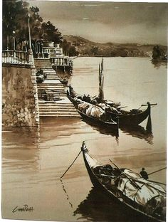 Cunha Rocha - Aguarela - Barcas do Rio Mondego - Coimbra