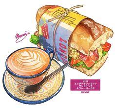 food, food porn, bread / # Daily rice and story food] Summary-pixiv Cute Food Art, Cute Art, Food Design, Cute Food Drawings, Art Drawings, Onigirazu, Food Sketch, Food Cartoon, Watercolor Food