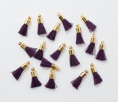 Purple Cotton Mini Tassel Pendant, Jewelry Craft Supply, Polished Gold - 4pcs / RG0038-PGPP
