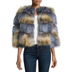 Belle Fare Boxy Two-Tone Fox Fur Jacket ($1,960) ❤ liked on Polyvore featuring outerwear, jackets, boxy jacket, 3/4 sleeve jacket, grey jacket, fleece-lined jackets and gray jacket