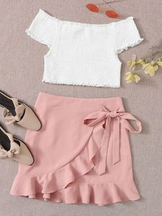 Shop a wide selection of Active Bottoms at ROMWE , and find more to fit your fashionable needs. Pink Skirt Outfits, Girly Outfits, Pretty Outfits, Stylish Outfits, Cute Outfits, Teenage Girl Outfits, Girls Fashion Clothes, Teen Fashion Outfits, Girl Fashion
