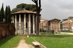 Forum Boarium | View of the temple of Vesta and the Temple of Portunus, Rome, founded c. 7th century. BC