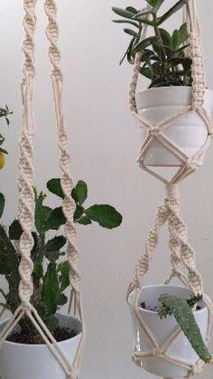 Macrame Plant Hanger Patterns, Macrame Wall Hanging Diy, Macrame Plant Hangers, Macrame Patterns, Macrame Design, Cotton Rope, Hanging Plants, Plant Holders, Plant Decor