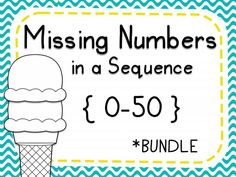 Missing Numbers in a Sequence 1-50. This set includes ten worksheets that require students to find the missing number in a sequence of three numbers. Students cut out the ice cream scoop with the missing number and glue it to the corresponding ice cream cone. Great for morning work, math centers, assessment, or homework.