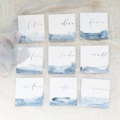 Modern calligraphy written on a piece of handmade paper, painted by watercolor with one solid color  Pricing: - $3.10 for each escort card with calligraphy written on it (flat with straight edge) size : 3 x 3 - +$0.15/each for tented/folded - Rush order will be another 50% of total charges.  -------------------------------------------------- PLEASE CONTACT US TO PURCHASE THIS LISTING, AND WE WILL CREATE A CUSTOM LISTING PAGE FOR YOU. DO NOT PURCHASE THIS LISTING DIRECTLY…
