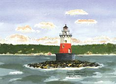 Greens Ledge Light, Darien/Rowayton   Watercolor prints and note cards of over 250 lighthouses all over the USA.  Start your collection today. Original paintings by sailor/artist  Alfred La Banca, Darien, CT