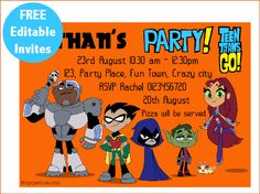 Teen Titans Go free editable invitation