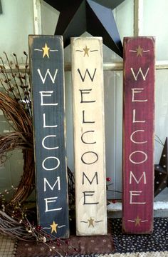 Welcome sign 14 vertical primitive wooden sign by barnstarsigns