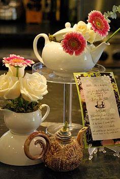 tea party birthday - great flower arrangement ideas in a teapot