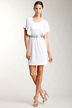 Calvin Klein Flounce Sleeve Dress with Sparkling Bel