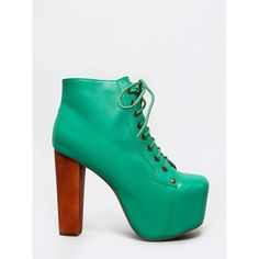 Pre-owned Lita (150 CAD) ❤ liked on Polyvore featuring shoes, boots, ankle booties, green, lace up booties, platform booties, chunky heel booties, leather ankle boots and lace up platform bootie