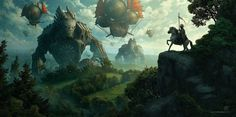 A knight in shining armor faces off with a fleet of airships, and a couple of walking buildings… Illustration by Kerem Beyit http://kerembeyit.deviantart.com/art/Invasion-282763968