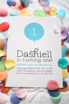 Love this simple, adorable first birthday party invite!